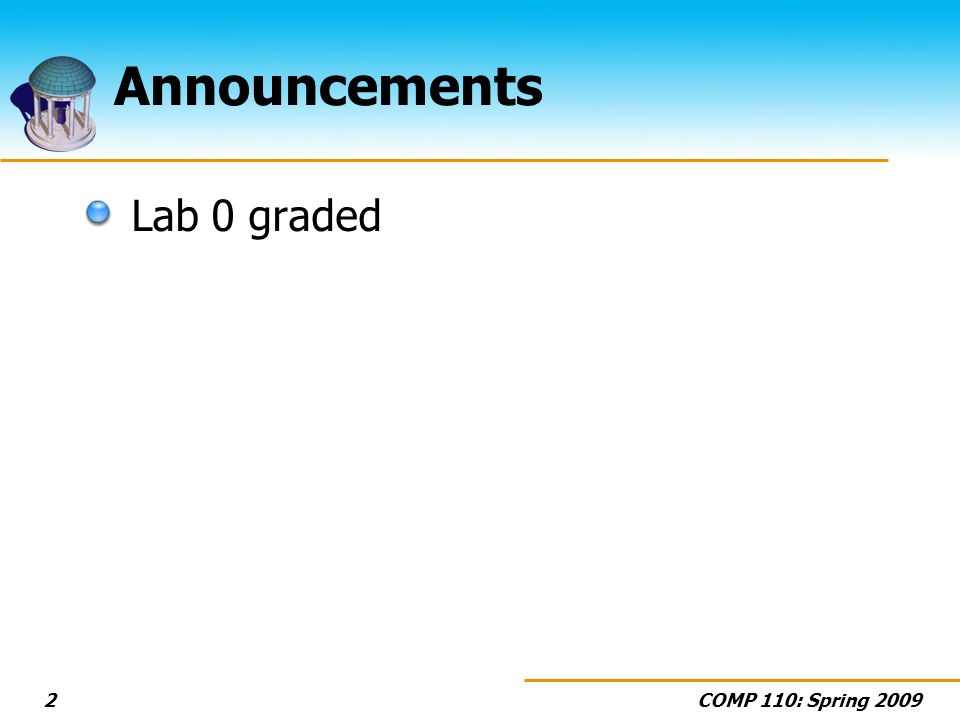 COMP 110: Spring 20092 Announcements Lab 0 graded
