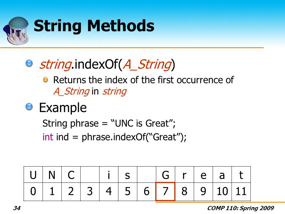 COMP 110: Spring 200934 String Methods string.indexOf(A_String) Returns the index of the first occurrence of A_String in string Example String phrase