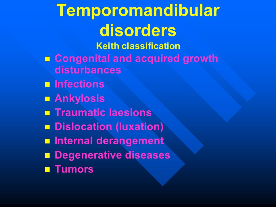 Temporomandibular disorders Keith classification Congenital and acquired growth disturbances Infections Ankylosis Traumatic laesions Dislocation (luxa