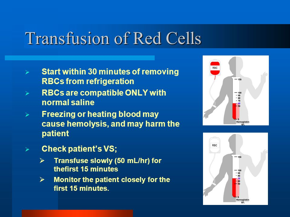 19 Transfusion of Red Cells Start within 30 minutes of removing RBCs from refrigeration RBCs are compatible ONLY with normal saline Freezing or heatin