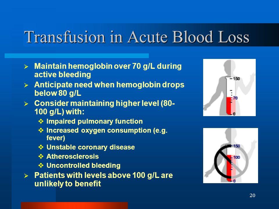 20 Transfusion in Acute Blood Loss Maintain hemoglobin over 70 g/L during active bleeding Anticipate need when hemoglobin drops below 80 g/L Consider