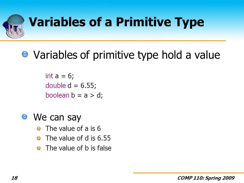 COMP 110: Spring 200918 Variables of a Primitive Type Variables of primitive type hold a value int a = 6; double d = 6.55; boolean b = a > d; We can say The value of a is 6 The value of d is 6.55 The value of b is false
