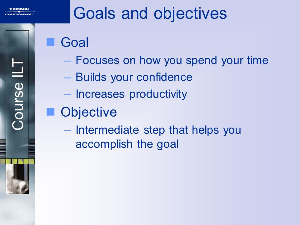 Course ILT Goals and objectives Goal –Focuses on how you spend your time –Builds your confidence –Increases productivity Objective –Intermediate step