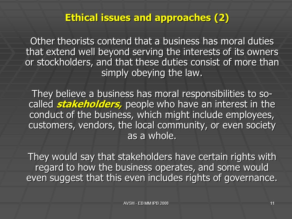 AVSH - EB MM IPB 200811 Other theorists contend that a business has moral duties that extend well beyond serving the interests of its owners or stockh