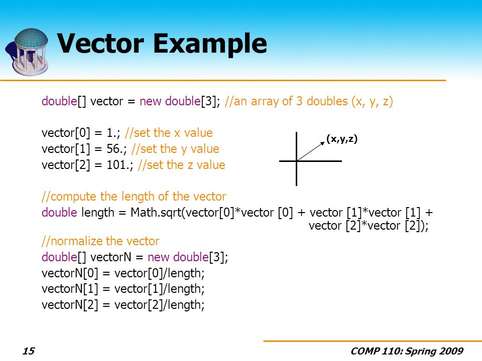 COMP 110: Spring 200915 Vector Example double[] vector = new double[3]; //an array of 3 doubles (x, y, z) vector[0] = 1.; //set the x value vector[1] = 56.; //set the y value vector[2] = 101.; //set the z value //compute the length of the vector double length = Math.sqrt(vector[0]*vector [0] + vector [1]*vector [1] + vector [2]*vector [2]); //normalize the vector double[] vectorN = new double[3]; vectorN[0] = vector[0]/length; vectorN[1] = vector[1]/length; vectorN[2] = vector[2]/length; (x,y,z)