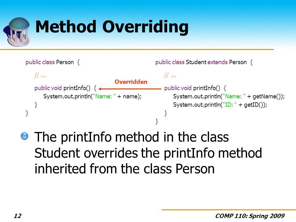 COMP 110: Spring 200912 Method Overriding public class Person { //...