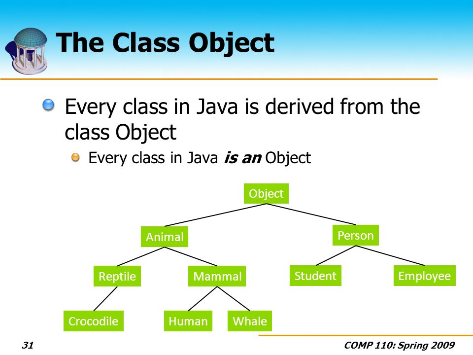 COMP 110: Spring 200931 The Class Object Every class in Java is derived from the class Object Every class in Java is an Object Animal ReptileMammal HumanCrocodileWhale Object Person StudentEmployee