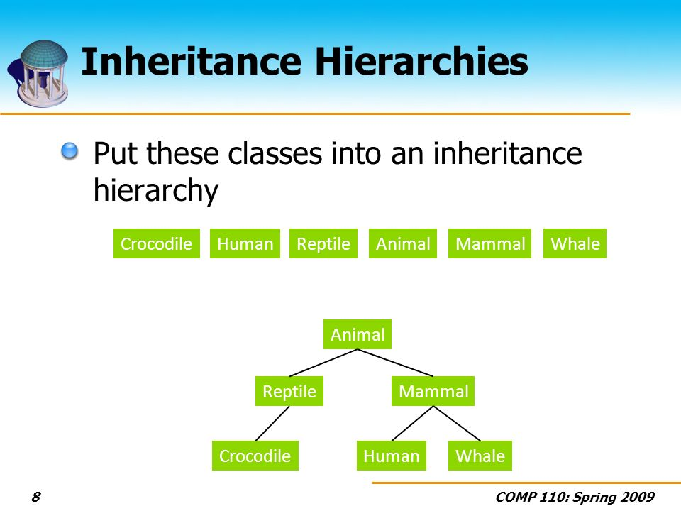 COMP 110: Spring 20098 Inheritance Hierarchies Put these classes into an inheritance hierarchy AnimalReptileMammalHumanCrocodileWhale Animal ReptileMammal HumanCrocodileWhale