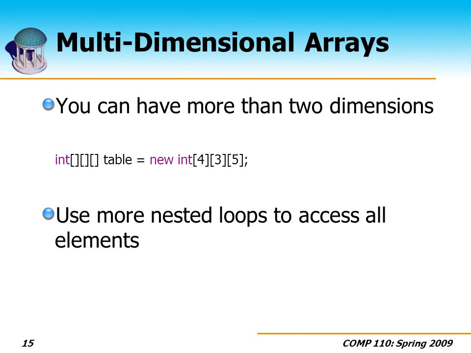COMP 110: Spring 200915 Multi-Dimensional Arrays You can have more than two dimensions int[][][] table = new int[4][3][5]; Use more nested loops to access all elements