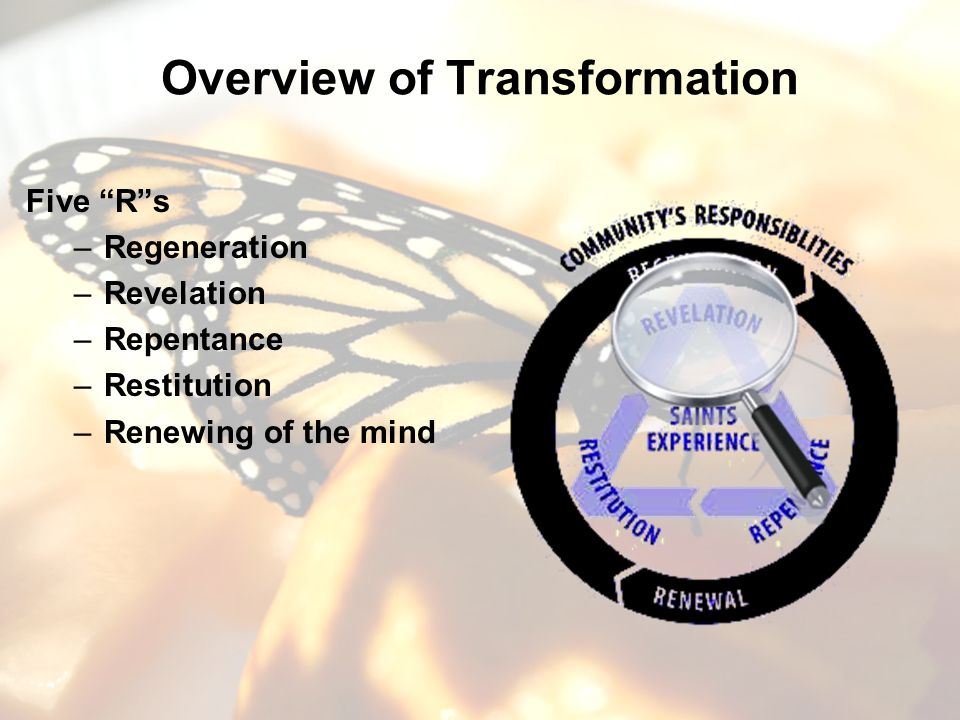 Overview of Transformation Five Rs –Regeneration –Revelation –Repentance –Restitution –Renewing of the mind