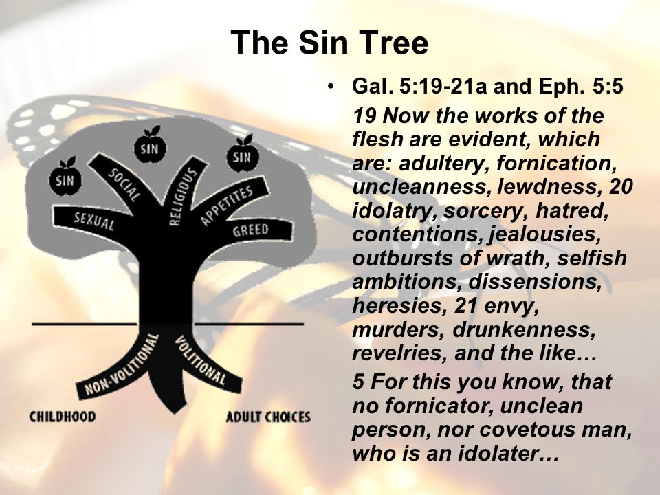 The Sin Tree Gal. 5:19-21a and Eph. 5:5 19 Now the works of the flesh are evident, which are: adultery, fornication, uncleanness, lewdness, 20 idolatr
