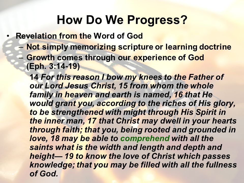 How Do We Progress? Revelation from the Word of God –Not simply memorizing scripture or learning doctrine –Growth comes through our experience of God