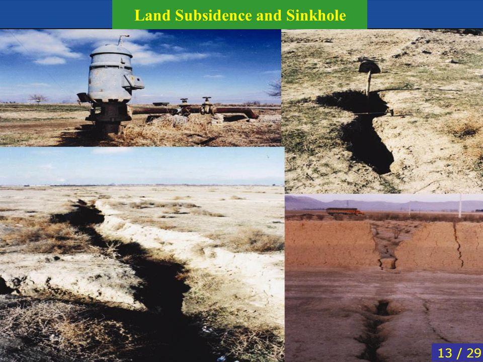 13 / 29 Land Subsidence and Sinkhole
