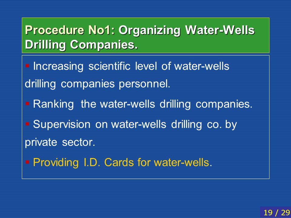 Procedure No1: Organizing Water-Wells Drilling Companies. Increasing scientific level of water-wells drilling companies personnel. Ranking the water-w