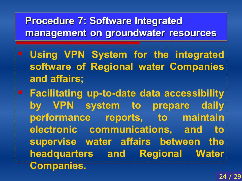 Procedure 7: Software Integrated management on groundwater resources Using VPN System for the integrated software of Regional water Companies and affa