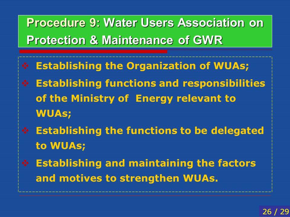 Procedure 9: Water Users Association on Protection & Maintenance of GWR Establishing the Organization of WUAs; Establishing functions and responsibili