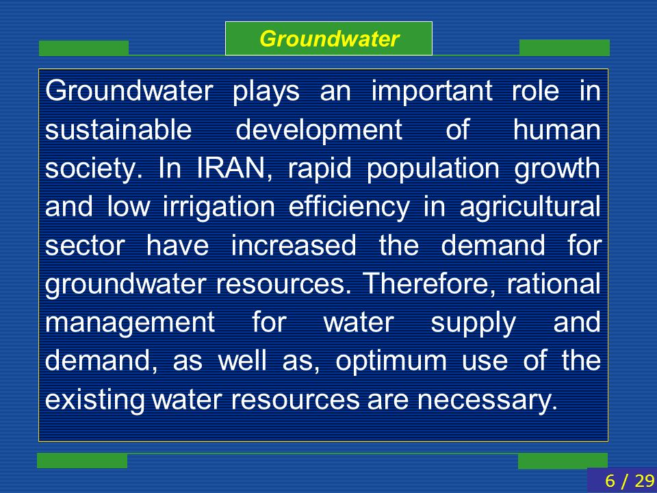 Groundwater plays an important role in sustainable development of human society. In IRAN, rapid population growth and low irrigation efficiency in agr