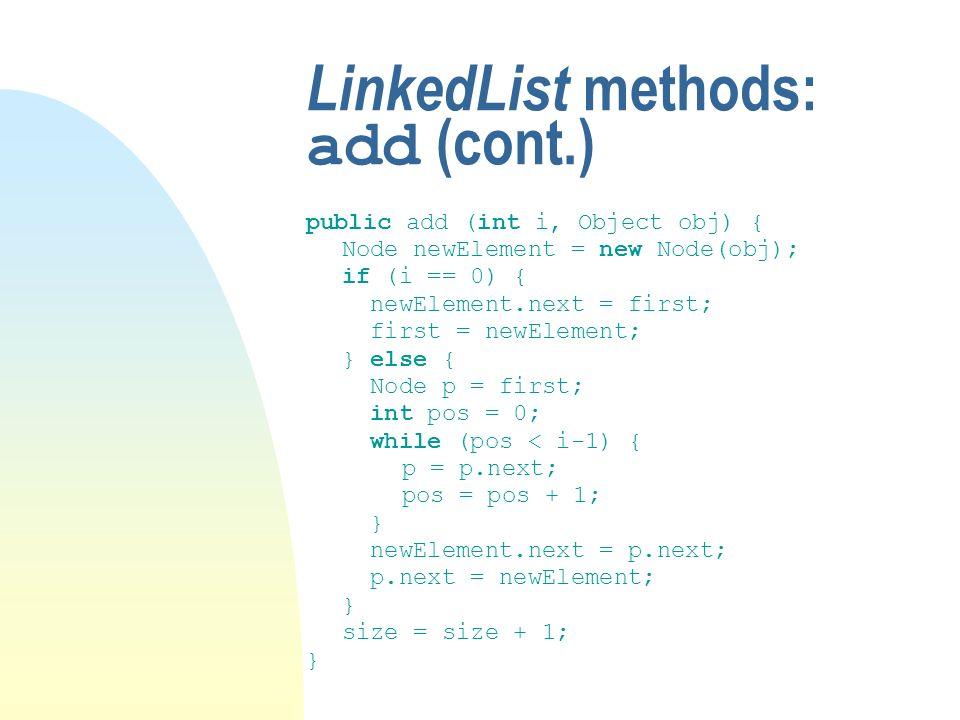 LinkedList methods: add (cont.) public add (int i, Object obj) { Node newElement = new Node(obj); if (i == 0) { newElement.next = first; first = newElement; } else { Node p = first; int pos = 0; while (pos < i-1) { p = p.next; pos = pos + 1; } newElement.next = p.next; p.next = newElement; } size = size + 1; }