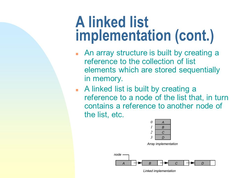 A linked list implementation (cont.) n An array structure is built by creating a reference to the collection of list elements which are stored sequent