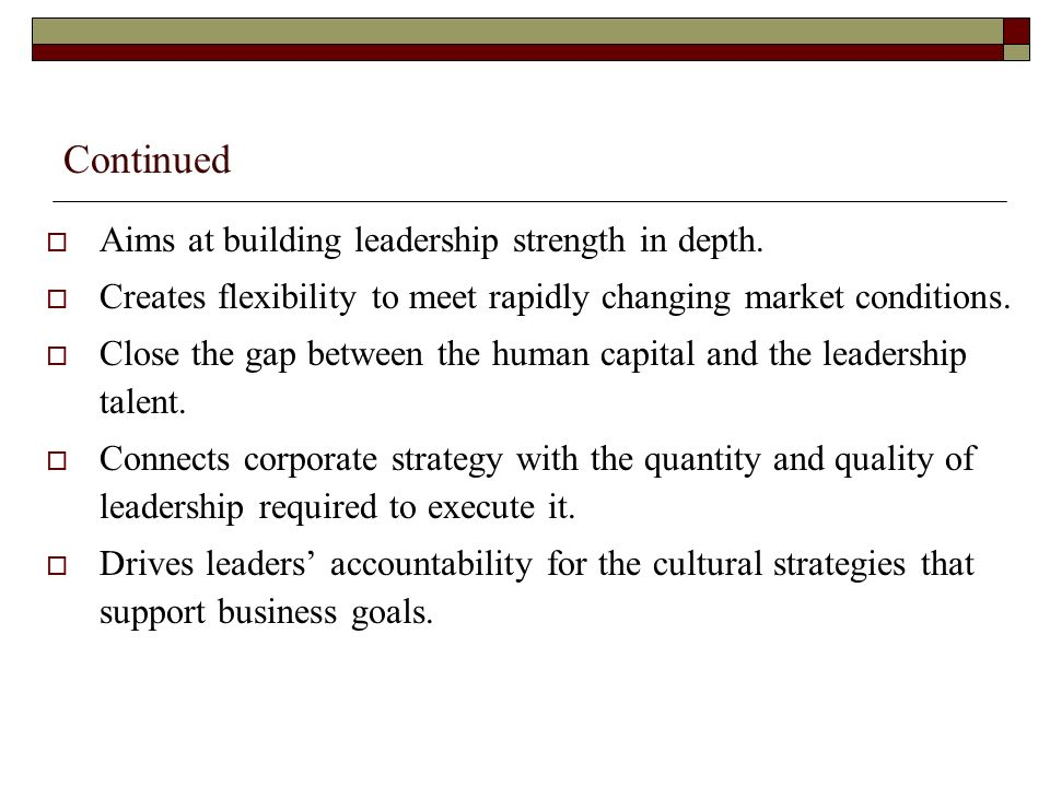 Continued Identifies those individuals with the highest leadership potential across the organization early in their careers.