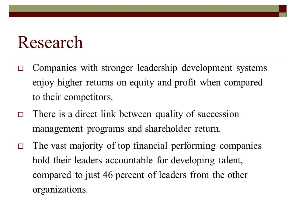 Continued Talent is a rapidly increasing source of value creation.