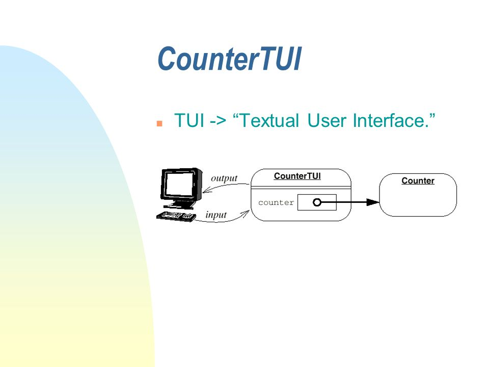 CounterTUI n TUI -> Textual User Interface.