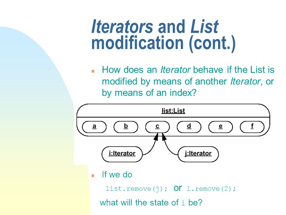 Iterators and List modification (cont.) n How does an Iterator behave if the List is modified by means of another Iterator, or by means of an index.