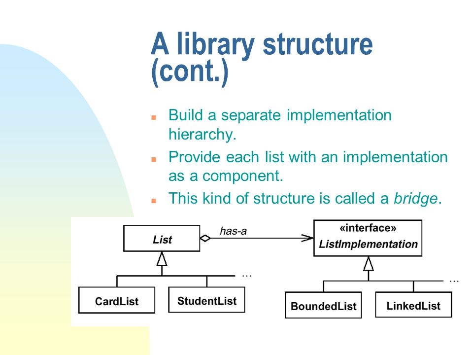 A library structure (cont.) n Build a separate implementation hierarchy.