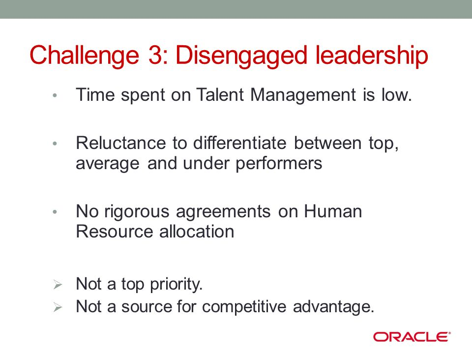 Challenge 3: Disengaged leadership Time spent on Talent Management is low.