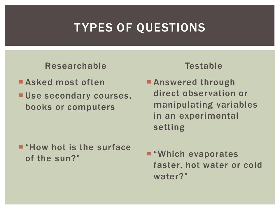 Researchable Asked most often Use secondary courses, books or computers How hot is the surface of the sun.