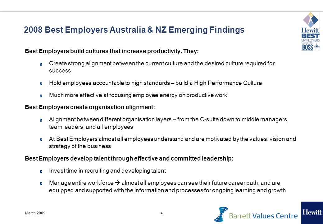 4March 2009 2008 Best Employers Australia & NZ Emerging Findings Best Employers build cultures that increase productivity. They: Create strong alignme