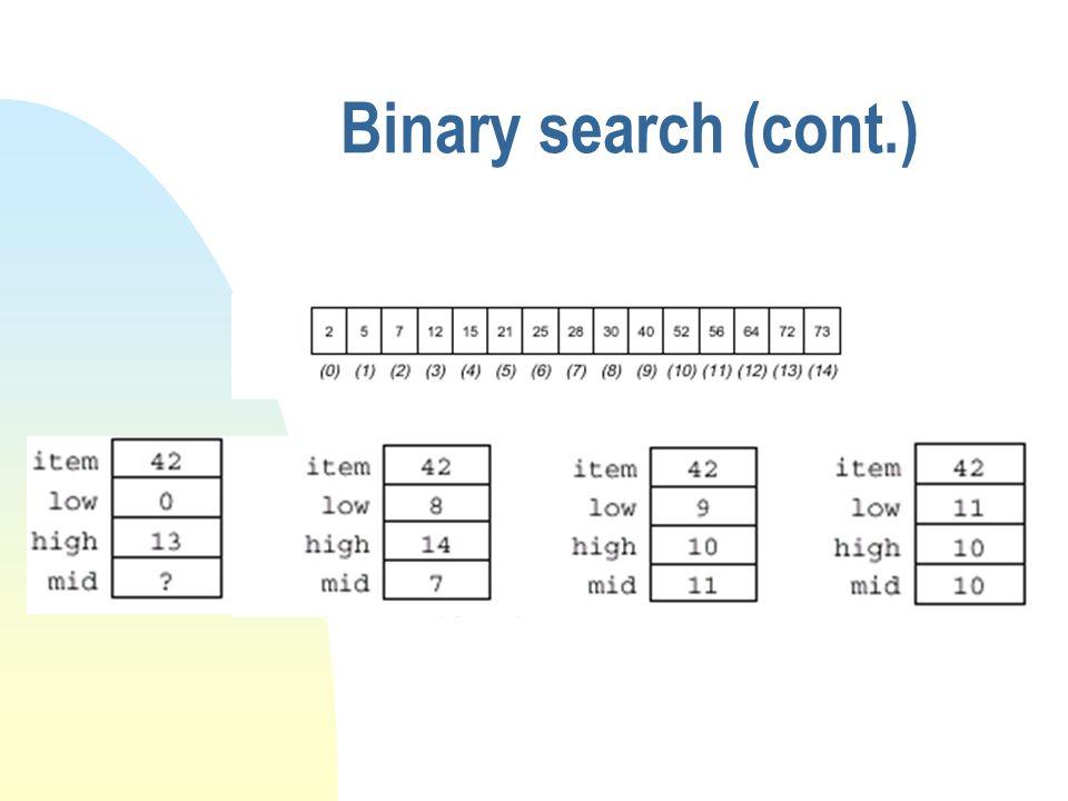 Binary search (cont.)
