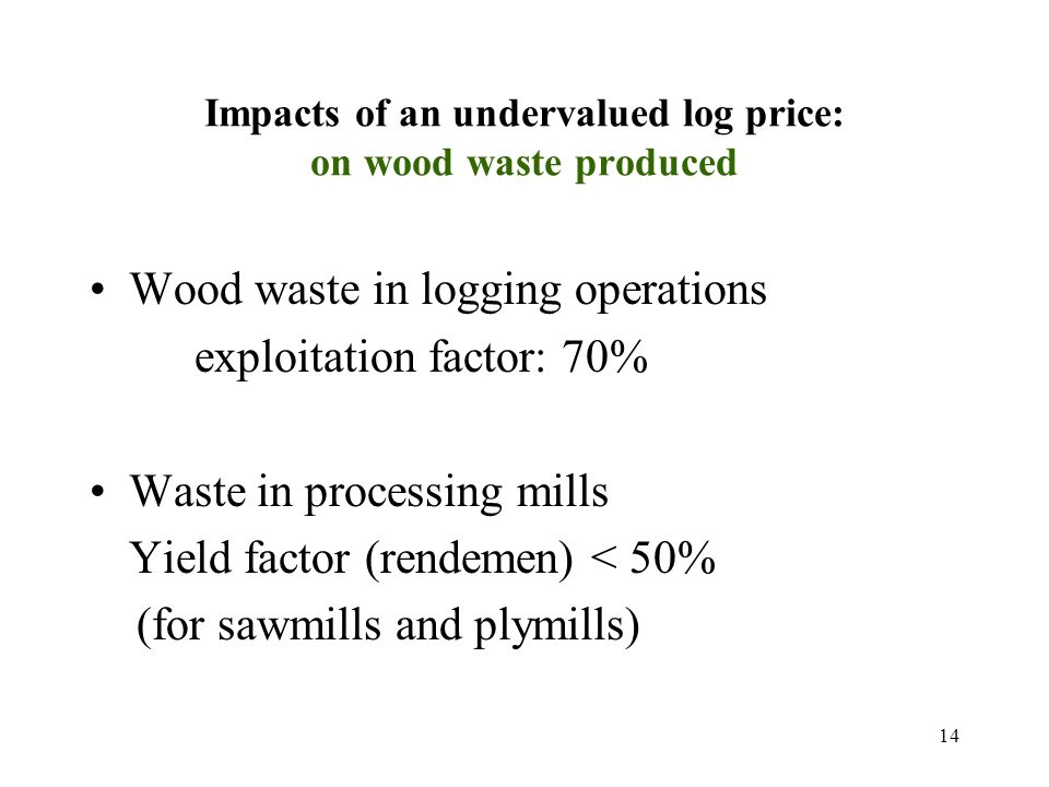 14 Impacts of an undervalued log price: on wood waste produced Wood waste in logging operations exploitation factor: 70% Waste in processing mills Yield factor (rendemen) < 50% (for sawmills and plymills)