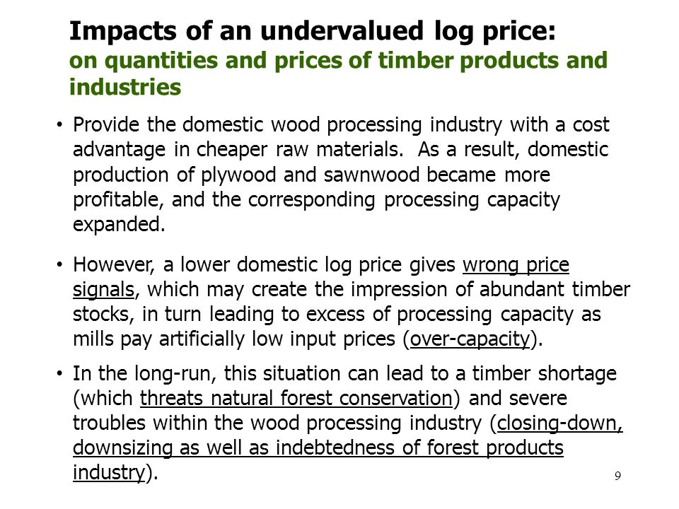 9 Impacts of an undervalued log price: on quantities and prices of timber products and industries Provide the domestic wood processing industry with a cost advantage in cheaper raw materials.