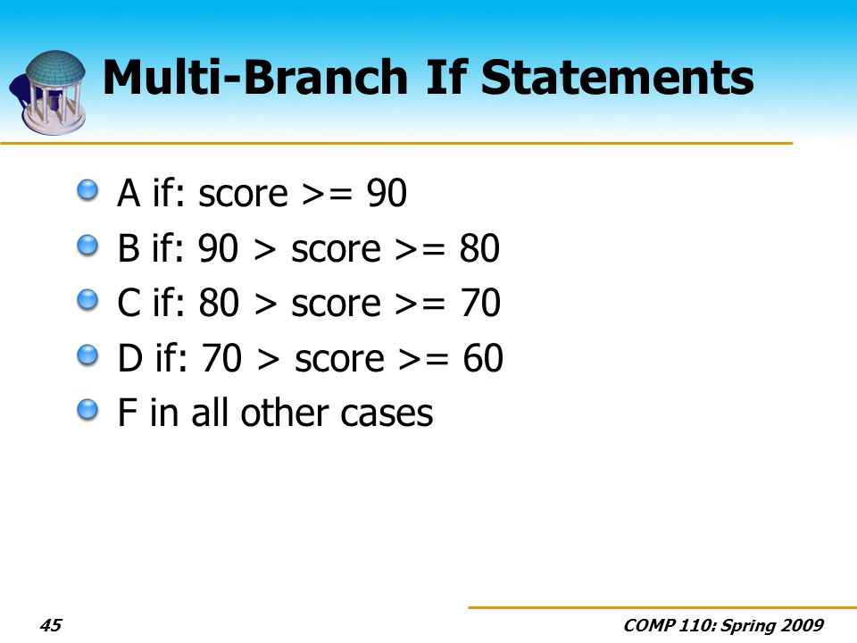 COMP 110: Spring 200945 Multi-Branch If Statements A if: score >= 90 B if: 90 > score >= 80 C if: 80 > score >= 70 D if: 70 > score >= 60 F in all other cases