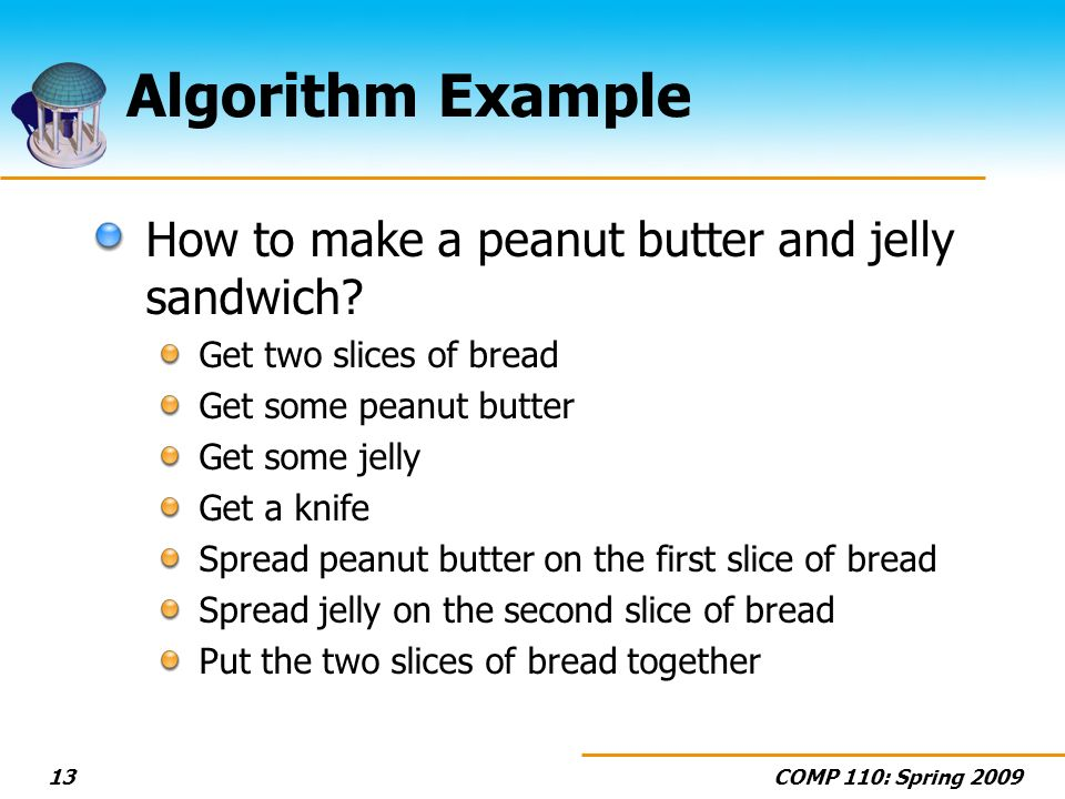 COMP 110: Spring 200913 Algorithm Example How to make a peanut butter and jelly sandwich? Get two slices of bread Get some peanut butter Get some jell