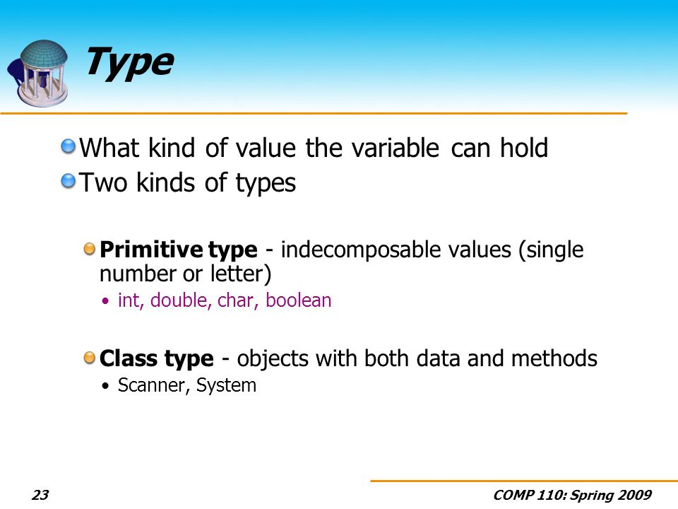 COMP 110: Spring 200923 Type What kind of value the variable can hold Two kinds of types Primitive type - indecomposable values (single number or lett