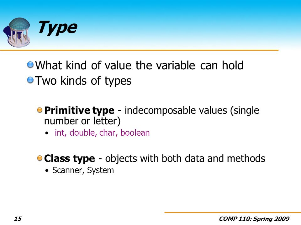 COMP 110: Spring Type What kind of value the variable can hold Two kinds of types Primitive type - indecomposable values (single number or letter) int, double, char, boolean Class type - objects with both data and methods Scanner, System