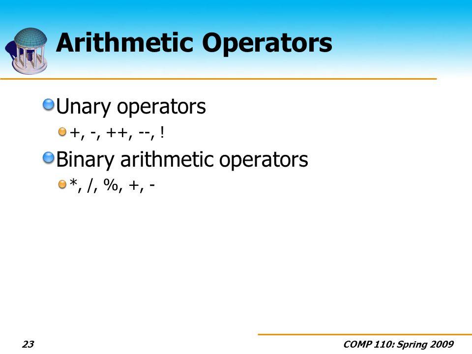 COMP 110: Spring 200923 Arithmetic Operators Unary operators +, -, ++, --, .