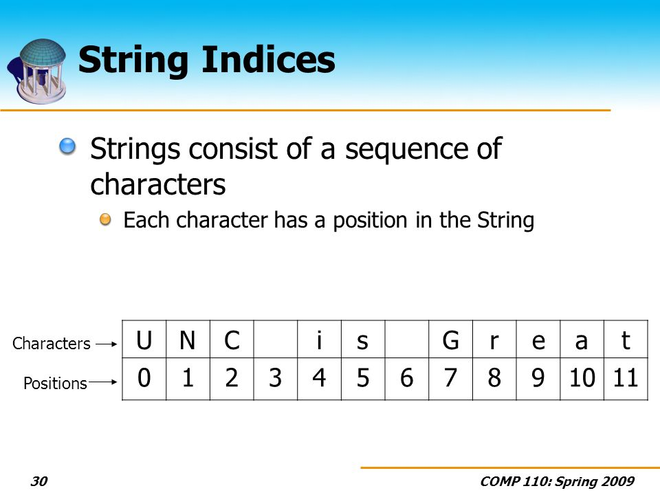 COMP 110: Spring String Indices Strings consist of a sequence of characters Each character has a position in the String UNCisGreat Positions Characters