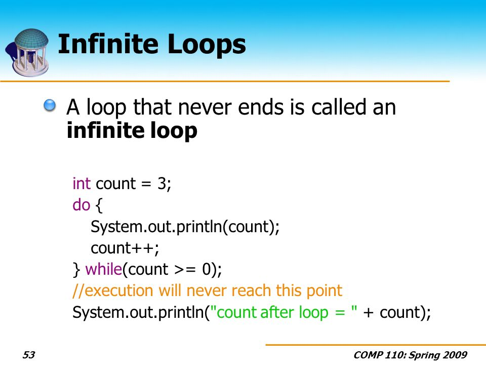 COMP 110: Spring Infinite Loops A loop that never ends is called an infinite loop int count = 3; do { System.out.println(count); count++; } while(count >= 0); //execution will never reach this point System.out.println( count after loop = + count);