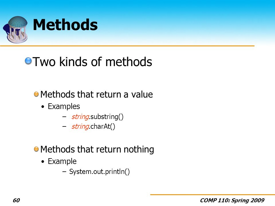 COMP 110: Spring Methods Two kinds of methods Methods that return a value Examples – string.substring() – string.charAt() Methods that return nothing Example –System.out.println()