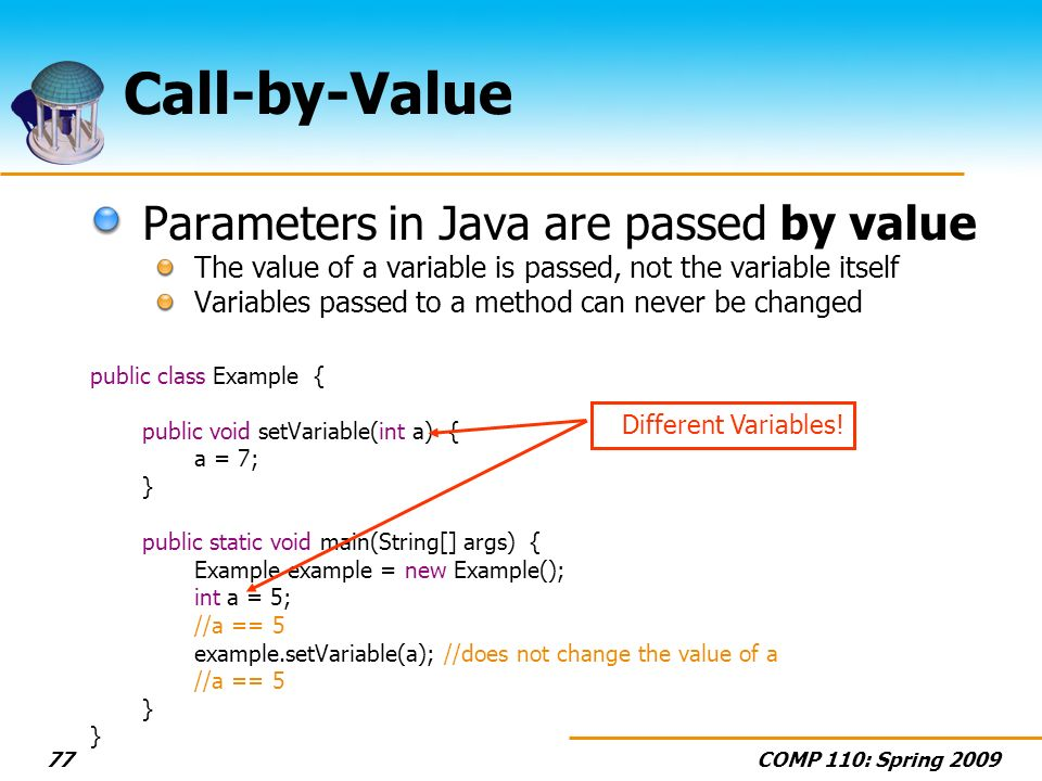 COMP 110: Spring Call-by-Value Parameters in Java are passed by value The value of a variable is passed, not the variable itself Variables passed to a method can never be changed public class Example { public void setVariable(int a) { a = 7; } public static void main(String[] args) { Example example = new Example(); int a = 5; //a == 5 example.setVariable(a); //does not change the value of a //a == 5 } Different Variables!