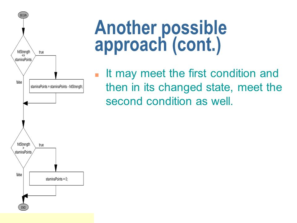 Another possible approach (cont.) n It may meet the first condition and then in its changed state, meet the second condition as well.