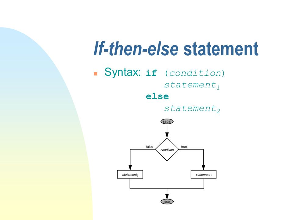 If-then-else statement Syntax: if (condition) statement 1 else statement 2