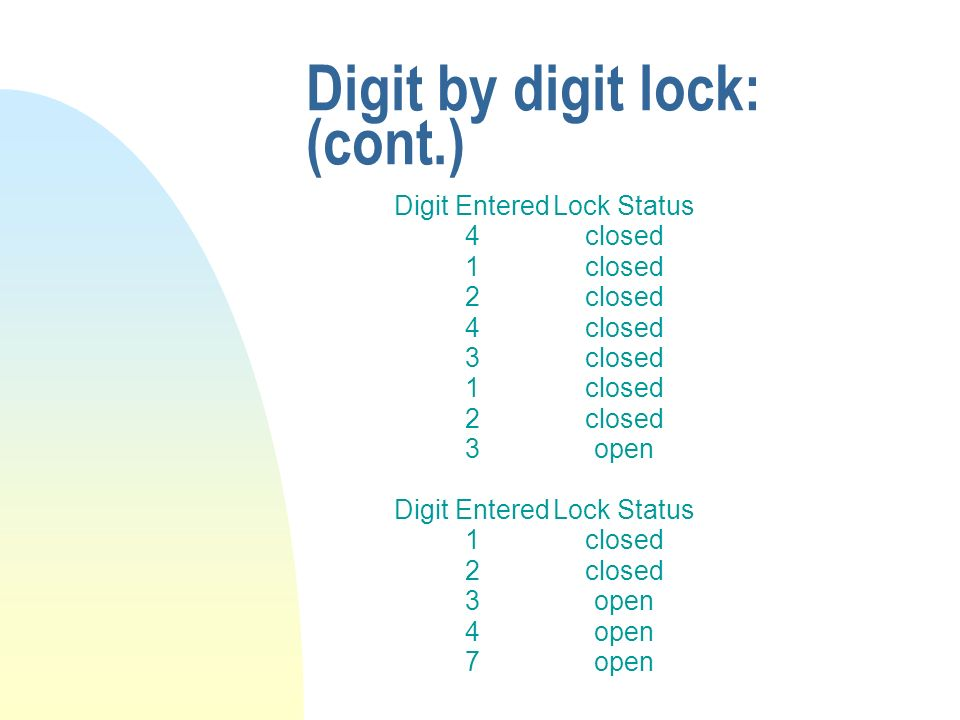 Digit by digit lock: (cont.) Digit Entered 4 1 2 4 3 1 2 3 Digit Entered 1 2 3 4 7 Lock Status closed open Lock Status closed open