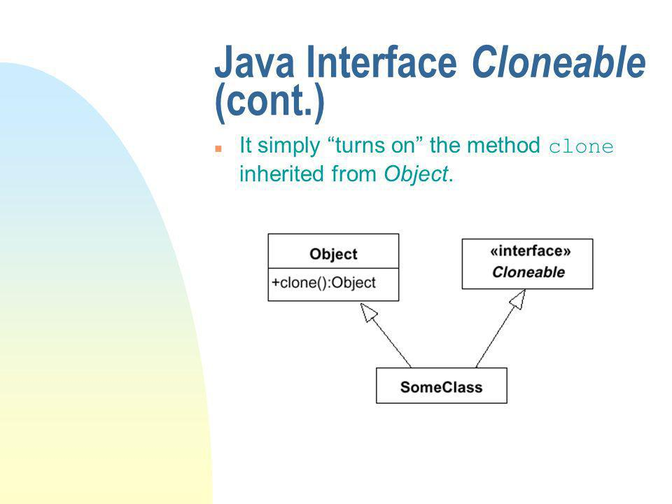 Java Interface Cloneable (cont.) It simply turns on the method clone inherited from Object.