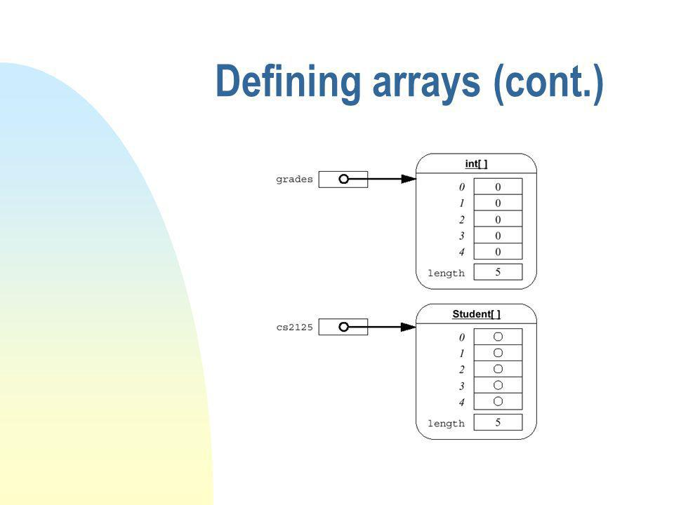 Defining arrays (cont.)