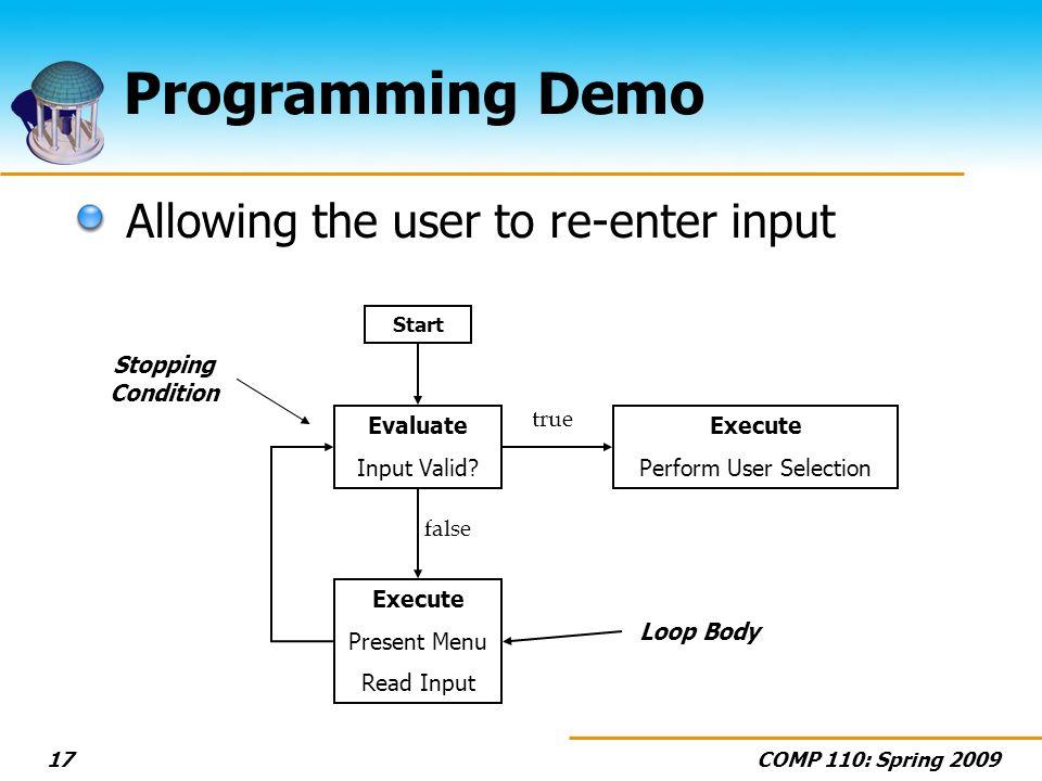COMP 110: Spring 200917 Programming Demo Evaluate Input Valid.