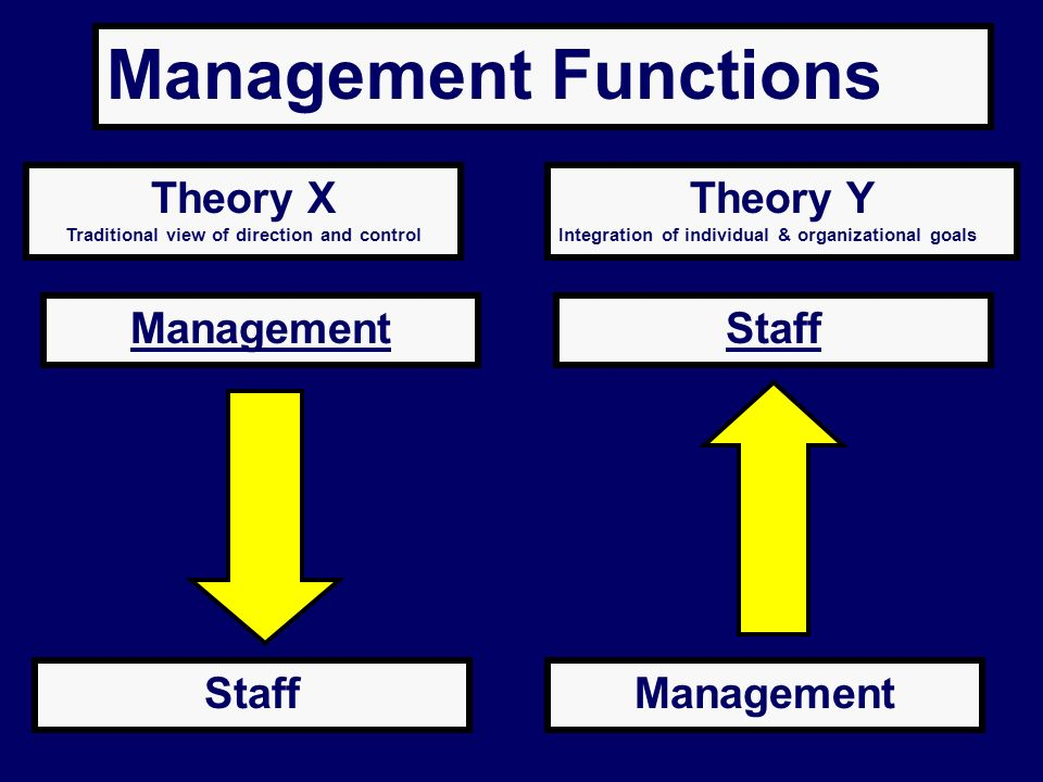 Management Functions Theory X Traditional view of direction and control Theory Y Integration of individual & organizational goals ManagementStaff Mana